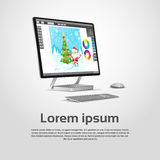 Desktop σύγχρονος εργασιακός χώρος σχεδιαστών υπολογιστών γραφικός απεικόνιση αποθεμάτων