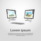Desktop σύγχρονος εργασιακός χώρος σχεδιαστών υπολογιστών γραφικός ελεύθερη απεικόνιση δικαιώματος