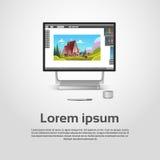 Desktop σύγχρονος εργασιακός χώρος σχεδιαστών υπολογιστών γραφικός διανυσματική απεικόνιση