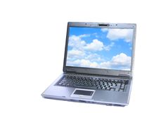 Desktop. Laptop with nlue desktop isolated on white background stock photos