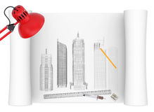Desktop of architect. The concept of the architect's work Royalty Free Stock Image