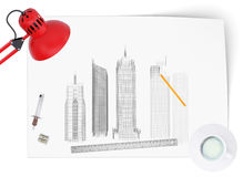 Desktop of architect Stock Image
