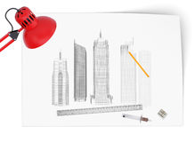 Desktop of architect Royalty Free Stock Photo