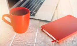 Desktop. Arrangement beverage bright business closeup coffee Royalty Free Stock Image