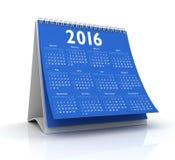Desktop błękita kalendarz 2016 Obrazy Royalty Free