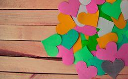Desktop background heart on wooden photophone royalty free stock photo