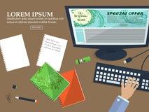 Desktop biznesowy mężczyzna w biurze z miejscem dla twój teksta Płaski tło wektor Zdjęcia Stock
