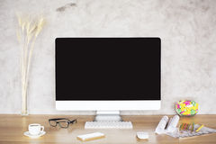 Desktop with blank monitor Stock Photos