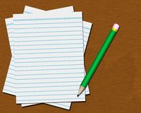 Desktop with Blank Paper and Pencil Royalty Free Stock Photo