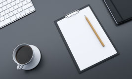 Desktop with blank paper vector illustration