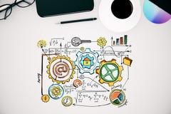 Desktop branco com esboço do negócio Fotografia de Stock Royalty Free