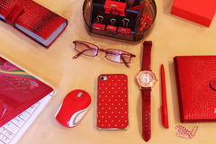 Desktop for Business Lady. Stationery and business accessories in red color scheme Stock Images