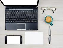 Desktop business office desk items Royalty Free Stock Photos