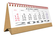 Desktop calendar 2009. On white - path included Royalty Free Stock Image