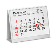 Desktop calendar  2012- December. Stock Images