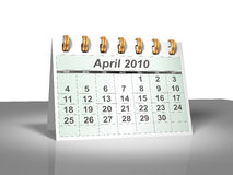 Desktop Calendar (3D). April, 2010. Week starts on Sunday. A full series for 2010 in my portfolio Royalty Free Stock Images