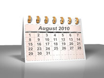 Desktop Calendar (3D). August, 2010. Week starts on Sunday. A full series for 2010 in my portfolio Royalty Free Stock Photography