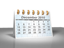 Desktop Calendar (3D). December, 2010. Week starts on Sunday. A full series for 2010 in my portfolio Royalty Free Stock Image
