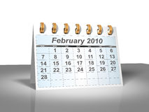Desktop Calendar (3D). February, 2010. Week starts on Sunday. A full series for 2010 in my portfolio Stock Image