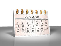 Desktop Calendar (3D). July, 2009. Week starts on Sunday. Considerable quantity of calendars in my portfolio Stock Photography