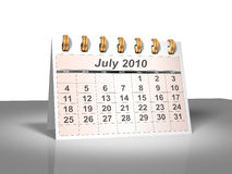 Desktop Calendar (3D). July, 2010. Week starts on Sunday. A full series for 2010 in my portfolio Royalty Free Stock Photo