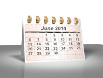 Desktop Calendar (3D). June, 2010. Week starts on Sunday. A full series for 2010 in my portfolio Royalty Free Stock Photography