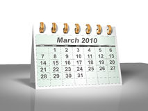 Desktop Calendar (3D). March, 2010. Stock Images