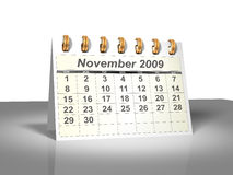 Desktop Calendar (3D). November, 2009. Week starts on Sunday. Considerable quantity of calendars in my portfolio Stock Images