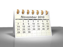 Desktop Calendar (3D). November, 2010. Week starts on Sunday. A full series for 2010 in my portfolio Stock Image