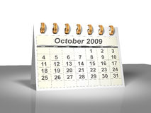 Desktop Calendar (3D). October, 2009. Week starts on Sunday. Considerable quantity of calendars in my portfolio Royalty Free Stock Photo