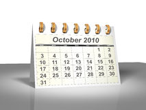 Desktop Calendar (3D). October, 2010. Week starts on Sunday. A full series for 2010 in my portfolio Stock Image