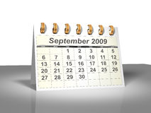 Desktop Calendar (3D). September, 2009. Week starts on Sunday. Considerable quantity of calendars in my portfolio Royalty Free Stock Images