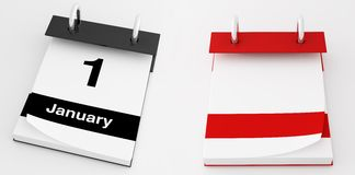 Desktop calendar. First january  and empty isolated on white desktop calendar - rendering Royalty Free Stock Images