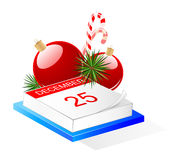 Desktop calendar and Christmas decoration Stock Images