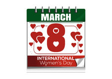 Desktop calendar with the date of March 8. International Womens Day Stock Photos