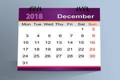 Desktop Calendar Design, December  2018 Stock Photography