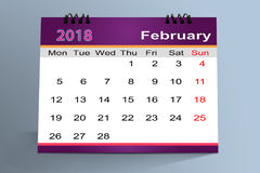 Desktop Calendar Design, February   2018 Stock Photos