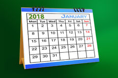Desktop Calendar Design, January  2018. Desktop Calendar Design January 2018 with mock up Royalty Free Stock Photography