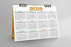 Desktop Calendar Design 2018. 12 months Desktop Calendar Design 2018 vector illustration