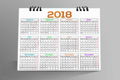 Desktop Calendar Design 2018. 12 months Desktop Calendar Design 2018 Stock Photo