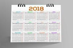 Desktop Calendar Design 2018. 12 months Desktop Calendar Design 2018 royalty free illustration