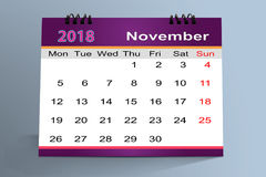 Desktop Calendar Design, November 2018 Royalty Free Stock Images