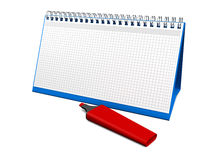 Calendar. Desktop calendar for notes with a red marker. 3d render Royalty Free Stock Image