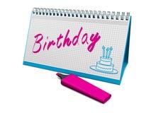 Birthday. Desktop calendar that says marker birthday. 3d render Royalty Free Stock Images