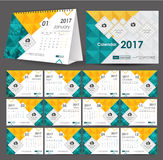 Desktop Calendar  2017 year.Week starts Monday. Vector design st Royalty Free Stock Photo