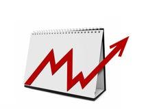 Desktop Calender with Arrow Chart. Desktop Calender with Red  Arrow Chart Stock Images