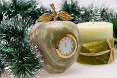 Desktop Clock and candle Royalty Free Stock Photo