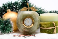 Desktop Clock and candle Stock Images