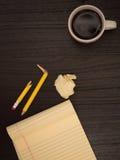 Desktop, Coffee Cup, Broken Pencil, Yellow Notepad Stock Images