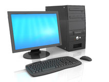 Desktop computer. 3d illustration of black desktop computer over white background with refelction Royalty Free Stock Photo